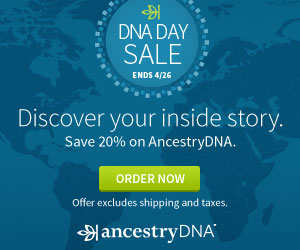 AncestryDNA for only $79 USD? That's right! Save 20% on AncestryDNA test kits as part of the National DNA Day sale! Sale good through Wednesday, April 26th