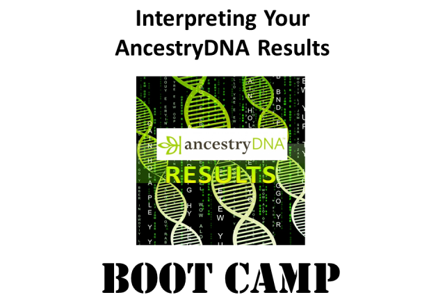 Join DNA genealogy expert Mary Eberle for Interpreting Your FTDNA and 23andMe Results Boot Camp on Saturday, December 14th, 2019