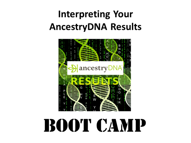 Join DNA genealogy expert Mary Eberle for Interpreting Your AncestryDNA Results Boot Camp on Saturday, November 9th, 2019