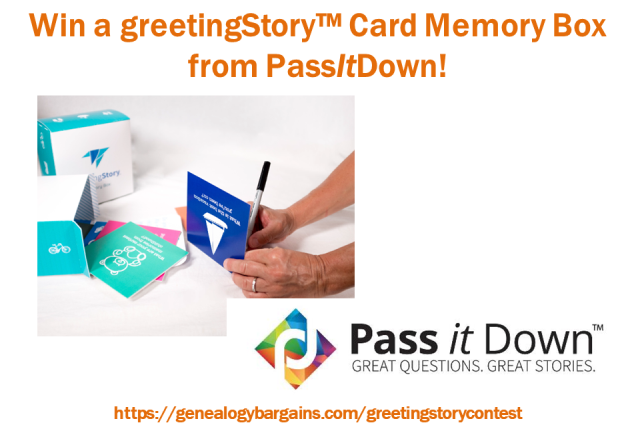 Enter the greetingStory Memory Box Contest at Genealogy Bargains this week and you could win a set of 48 different family story cards to use with family members, especially at your next family reunion this summer!