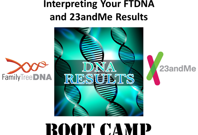 Save 30% on Interpreting Your FTDNA and 23andMe Results DNA Boot Camp! Genealogy Bargains for Thursday, December 5th, 2019.