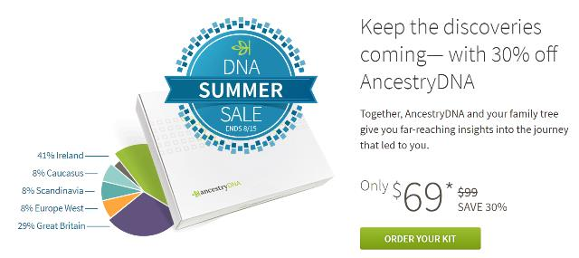 AncestryDNA Summer Sale is on NOW - time to stock up! Get AncestryDNA for just $69 USD plus FREE SHIPPING for Amazon Prime members