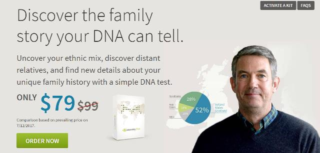 Save 20% on Ancestry DNA test kits plus FREE SHIPPING! Here's a little known sale . . . you can get the popular Ancestry DNA test kit for just $79 USD plus use promo code FREESHIPDNA at checkout to save the $9.95 shipping fee! And as an added bonus, each additional DNA kit you order is just $69 USD! There is no posted expiration data on this offer, so don't delay because it could disappear at any time!