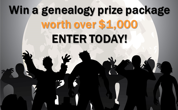 Enter the Halloween Contest at Genealogy Bargains this week and you could win an amazing genealogy and family history prize package valued at over $1,000!