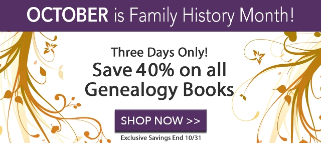 Save 40% on ALL GENEALOGY BOOKS at Family Tree Magazine - these and more deals at Genealogy Bargains for Sunday, October 29th, 2017