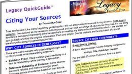 Get this handy 5-page PDF download Citing Your Sources by genealogy educator Thomas MacEntee for FREE via Legacy Family Tree
