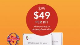 23andMe Ancestry Test just $49 when you buy 2 kits! This is an amazing Thanksgiving Family promo now through November 23rd - normally $99 each, save 50% when you purchase two kits. A good deal as well is a single Ancestry test kit is just $69.