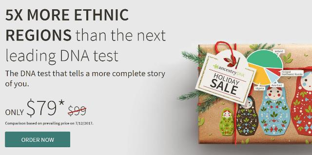 Ancestry DNA Holiday Sale starts today - just $79 plus FREE SHIPPING! Get even more