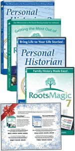 "Save 67% with Special Holiday Offer at RootsMagic! ""Are you looking for a gift that will really bring the family together? Then give the gift of computer software that unites families. And, as a RootsMagic customer, we've made it even easier for you by offering an amazing bundle including RootsMagic 7, Personal Historian 2, Getting the Most Out of RootsMagic 7, and Personal Historian 2: The Companion Guide (a $90 value) for as low as $25!"" There is also a print version of this deal available for $35 plus shipping. Sale valid through November 30th."