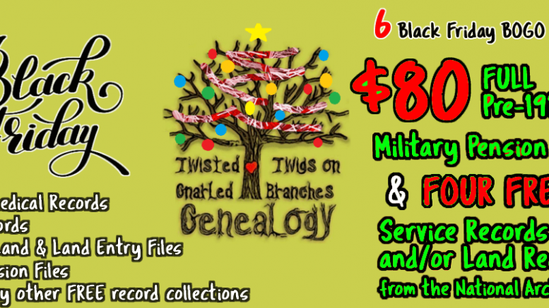 Don't miss this HUGE sale at Twisted Twigs Genealogy - Buy One Get One FREE on military records pulls from National Archives!