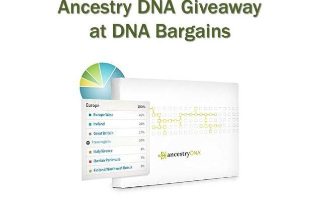 Enter the Ancestry DNA Giveaway sponsored by Genealogy Bargains and you could win an Ancestry DNA test kit valued at $99 USD!