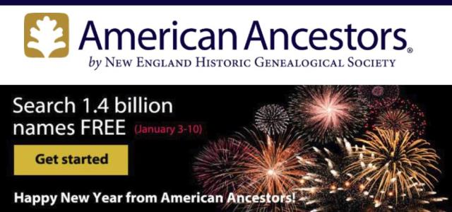 Take the American Ancestors site for a test drive this week with FREE ACCESS to over 1.4 Billion searchable names! Get access via Genealogy Bargains!