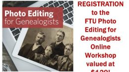 Enter The Family Tree University Giveaway this week at Genealogy Bargains and you could win a FREE registration to the upcoming Photo Editing for Genealogists Workshop valued at $129 USD.
