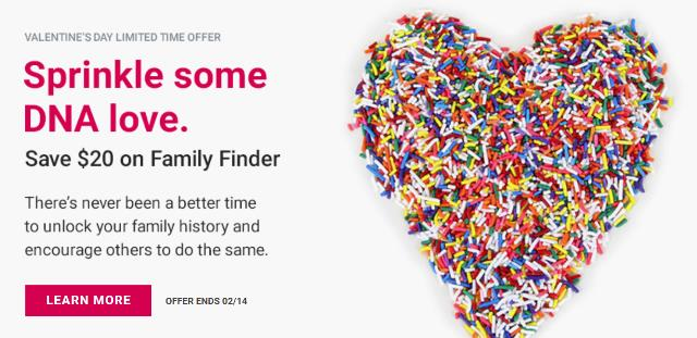 """Save $20 on Family Finder DNA test and DNA test bundles at Family Tree DNA! """"Family Finder provides powerful interactive tools to help find your DNA matches, trace your lineage through time and determine family connections."""""""