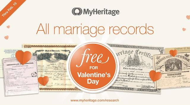 To celebrate Valentine's Day, MyHeritage has a special gift for all. Now through February 15th, free access to love-related records in the massive historical records collection at MyHeritage - get the details at Genealogy Bargains!