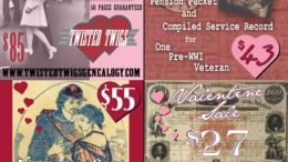 Valentine's Day Sale on Military Records at Twisted Twigs Genealogy! Amazing savings on military records and pensions from the National Archives - Twisted Twigs charges less than NARA and their turnaround/delivery timeline is much faster as well!