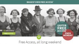 Get FREE ACCESS at Ancestry UK to millions of British and Commonwealth Records during Easter Weekend - now through Monday, April 2nd via Genealogy Bargains