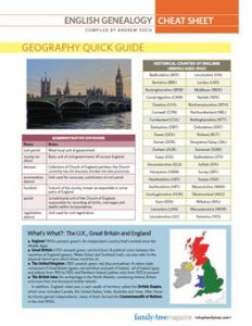 English Genealogy Cheat Sheet:Dig into your English ancestry with this at-a-glance guide to English genealogy basics. This cheat sheet download includes information about English genealogy records and how to find English records online, plus quick guides to the history and geography of England and Britain.
