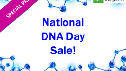 DNA Bargains has the inside scoop on the current National DNA Day 2018 sales as well as what to expect tomorrow, Wednesday, April 25th, 2018! Watch for one-day special 50% of sales at 23andMe, and further discounts including free shipping at MyHeritageDNA, AncestryDNA and others.