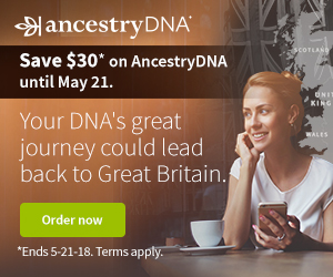 "Ancestry DNA Canada Victoria Day Sale - just $99 CAD! ""Your DNA's great journey could lead back to Great Britain!"" Ancestry DNA Canada now just $99 CAD! Sale valid through Sunday, May 28th."