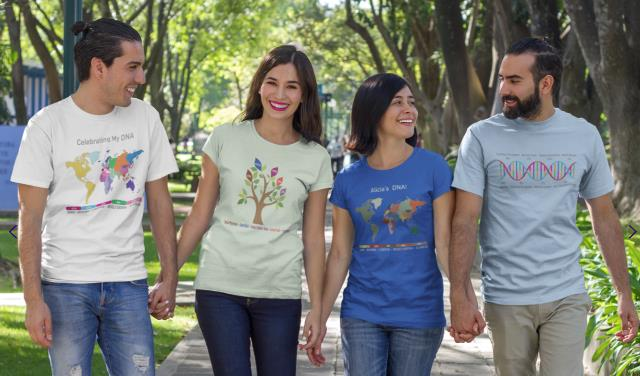 Save 15% on all products including customized DNA t-shirts at Celebrate DNA! Are you looking for new ways to show off your latest DNA test results? What about giving a unique gift to a family member letting them know more about their genealogy and ethnicity? Celebrate DNA helps you take DNA test results and create a wide variety of customized t-shirts, mugs and tote bags! You won't find these designs anywhere else - take a look at their entire product line and order your t-shirt in time for your summer family reunion!