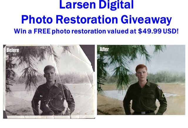 PHOTO RESTORATION GIVEAWAY! Larsen Digital & Genealogy Bargains have teamed up to give one lucky person a FREE photo restoration! Valued at $49.99 USD.