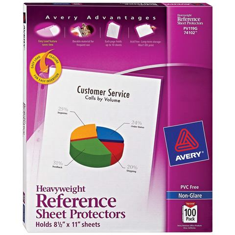 "NEW! Save 51% on Avery Acid-Free Sheet Protectors via Amazon! ""Need a project organizer that lasts for the long haul? Protect documents, records, photos and more with these durable heavy duty sheet protectors. Each heavy duty sheet protector is constructed from acid-free and archival safe polypropylene and won't lift print, making them great for protecting irreplaceable photos, valuable collector cards and other prized items against dirt, debris and liquid. A helpful Easy Load feature makes loading letter-size sheets into the top of the Avery Heavyweight Sheet Protectors quick and easy, saving you time and boosting your productivity, while a clear binding edge makes a professional presentation for your documents. The heavy duty plastic sheet protectors are perfect for organizing planners, schoolwork, reference manuals and more. You can even use a dry erase marker to jot down notes on your poly sheet protectors. This pack of 100 non-glare heavyweight sheet protectors provides the long-term protection your frequently used documents, reports, recipes or photos need to stay in tip-top condition."""