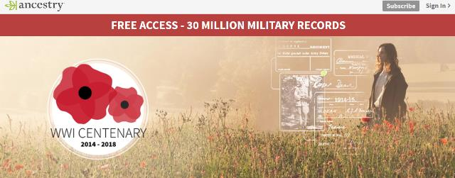 To mark the centenary of the First World War, Ancestry UK has FREE ACCESS to over 30 million military records through August 9th!