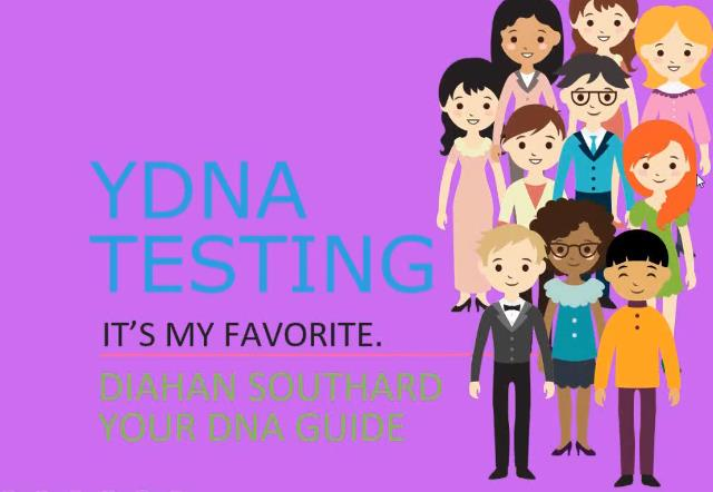 "FREE recording of The YDNA Test Should Be Your Favorite which was presented by Diahan Southard this afternoon. ""The Y chromosome DNA, with its direct paternal line inheritance pattern, is a powerful tool for any genealogist, male or female, seeking to extend or verify a genealogical line. This lecture will cover basic and intermediate principles of using YDNA verify and extend your pedigree chart."""