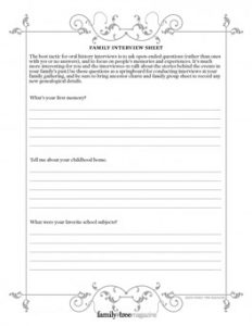 Family Interview Sheet (DIGITAL DOWNLOAD): Oral history is a valuable aspect of genealogy research, and family gatherings are the ideal location to extract memories from Great Aunt Bess or Great-Grandpa Herman. It can be fascinating to discuss the secret stories behind the events in your family's past. Use our Family Interview Sheet as a springboard for conducting interviews at your family gathering.