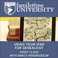 Using Your iPad for Genealogy Video Class (VIDEO DOWNLOAD): Tablet computers aren't just trendy - they're also perfect genealogy assistants. This class will introduce you to family history-friendly apps and show how your iPad can help you with organizing, writing and other genealogy jobs.