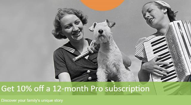 Returning Findmypast customers can save 10% on a 12-month Pro/Ultimate/World subscription