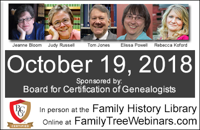 The Board for Certification of Genealogists is offering a free day of quality genealogy education to be broadcast online via Legacy Family Tree Webinars