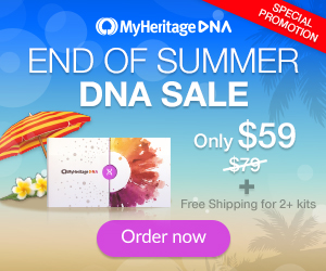 NEW! End of Summer Sale at MyHeritage DNA - $59 USD! For just $59 USD you can get the popular autosomal DNA test kit similar to AncestryDNA, Family Tree DNA and other DNA testing companies. You'll have access to more ethnicities than any other major vendor PLUS receive your results much faster than other companies.