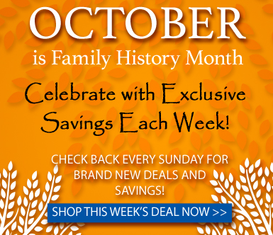 "Save 50%  on ALL Family Tree Guidebooks at Family Tree Magazine! ""Family Tree Magazine is celebrating Family History month in a big way. Every week, Family Tree Shop will have exclusive savings and deals. The deal changes each week, so check back to see the new sale every Sunday. This week save 50% on all Family Tree Guide Books! Prices are as marked but don't wait, this sale ends Saturday!"