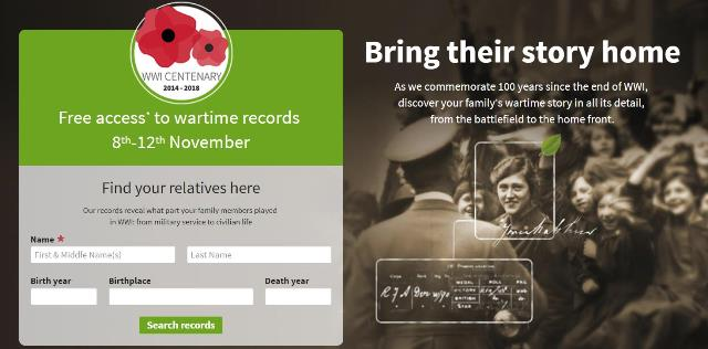 "FREE ACCESS to UK Military Records at Ancestry UK! ""As we commemorate 100 years since the end of WWI, discover your family's wartime story in all its detail, from the battlefield to the home front."" Ancestry UK is offering FREE ACCESS to millions of records to celebrate the 100th anniversary of the armistice that ended The Great War."