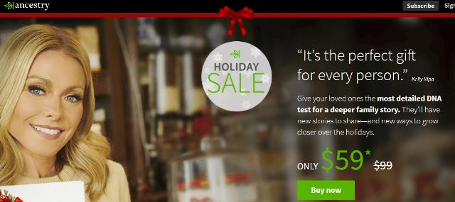 A special hidden holiday deal . . . if you purchase 4 AncestryDNA test kits at the sale price of $59 USD, you get 1 kit free! You will still have to pay shipping and handling plus taxes on the free kit, but still this is perfect for holiday gift giving or finally getting those other family members to take a DNA test!