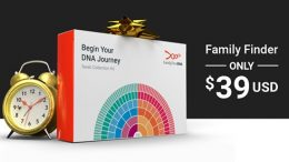 The Family Tree DNA Black Friday Sale with Family Finder autosomal DNA test just $39 USD, reduced shipping fees and savings on Y-DNA and mTDNA test kits!