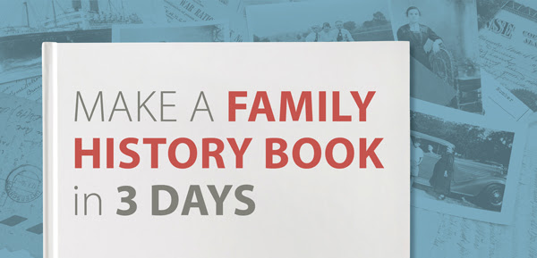 "Save $10 USD on Make a Family History Book in 3 Days Online Workshop from Family Tree Magazine! ""You can make a family history book in 3 days! In this workshop, you will learn how to make a 20-page photo book using a combination of photographs, documents and text to tell their ancestors' stories. You'll discover the secrets to creating a good layout and how to keep the story flowing from page to page. Plus, you'll get the finished results back in time to give as presents for the upcoming holidays!"