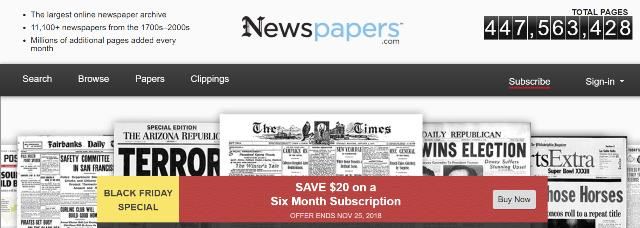 Newspapers.com: Save $20 on a 6-month subscription at Newspapers.com! Regularly $74.90 USD, now just $54.90 USD