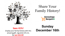 Save 41% on Klikel Family Tree Display and share your family history! See all the deals at Genealogy Bargains for Sunday, December 16th, 2018