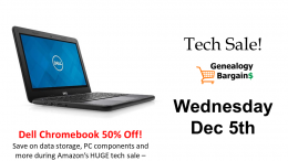 HUGE ONE DAY TECH SALE at Amazon - save up to 62% on laptops, notebooks, data storage and more! Get more deals at Genealogy Bargains for Wednesday, December 5th 2018
