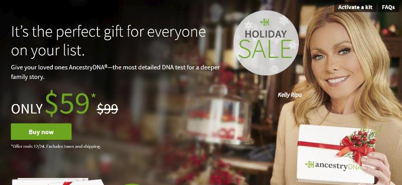 AncestryDNA just $59 USD during AncestryDNA Holiday Sale. BONUS! Buy 3 get 1 FREE! Sale valid through Monday, December 24th.