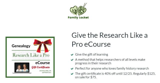 Family Locket: Save 40% on Research Like a Pro E-Course! Regularly $125 USD, now just $75 USD