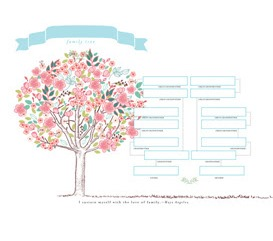 Family Tree Chart: Floral Design: This beautiful floral family tree is ideal for framing and displaying in a place that really utilizes the picture's color, whether that means using it to add livelihood to a dull bathroom or to complement the robust palette of your family room.