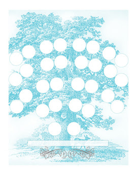 Family Tree Chart: Vintage Design: This handsome vintage family tree depicts a blue tree, full of circles in which you can input your ancestors. This subtle but evocative wall ornament would shine in a living room, sun room or kitchen. This chart includes space for 5-generations of family names. $14.99 Value