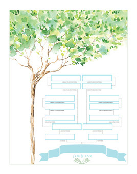 Family Tree Chart: Watercolor Design: Show off your family's heritage in style! This lovely watercolor family tree is a tasteful display for nay room of your home.