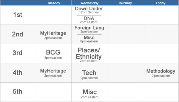 The 2019 series brings the addition of weekly themes. In addition to hosting the MyHeritage and BCG webinars series (to be announced separately), Legacy will now broadcast DNA webinars the first Wednesday of each month, a places/ethnicity topic the 3rd Wednesday of the month, technology topics on the 4th Wednesday and Methodology topics the last Friday of each month. These new themed webinars join the previously announced new Down Under series. There's surely something for everyone!