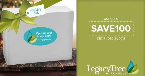 Legacy Tree Genealogists:Take $100 off our popular Basic 20-Hour Research Project with code SAVE100! Sale valid through December 21st