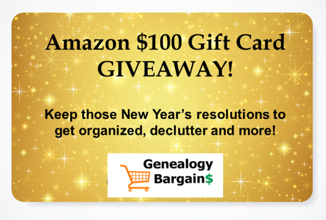Enter the Amazon $100 Gift Card Giveaway at Genealogy Bargains this week and you could win a $100 Amazon gift card to use to get organized and declutter!